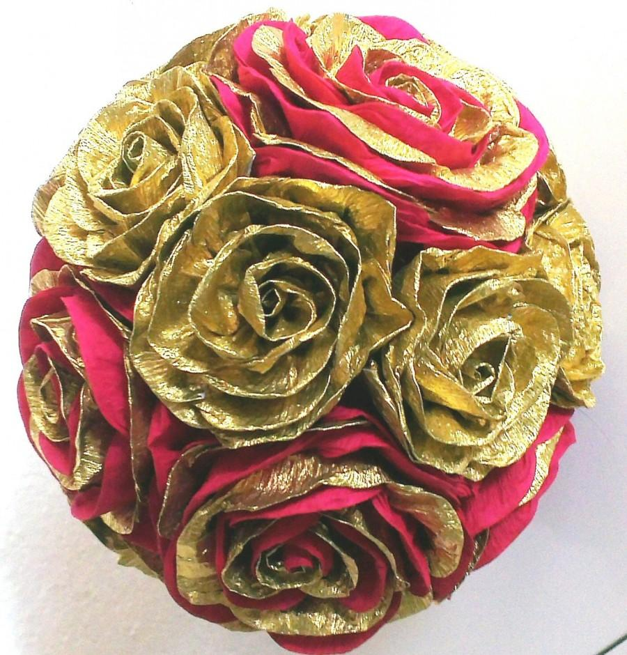 Gold red crepe paper flower balls roses hanging paper wedding gold red crepe paper flower balls roses hanging paper wedding pomander kissing ball flower girl baby shower christmas wedding centerpiece mightylinksfo