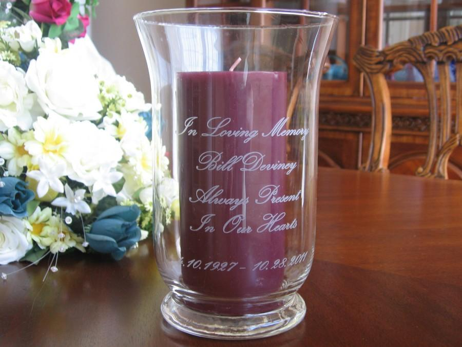Mariage - Memorial Candle holder, Personalized, Engraved