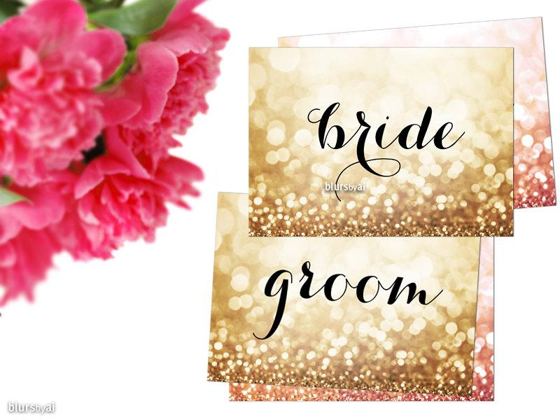 """Свадьба - Printable wedding sign """"bride"""" and """"groom"""" signs for head table, gold wedding, gold bride & groom signs, rose gold, pink gold  gp124 Olivia"""