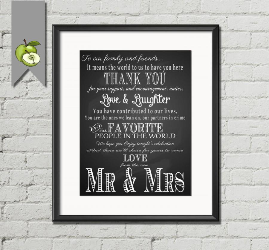 Wedding - Thank you wedding sign, Chalkboard- Thank you - mr and mrs- wedding Table Sign- 4 SIZES- Instant digital Download-DIY bride- chalksuite