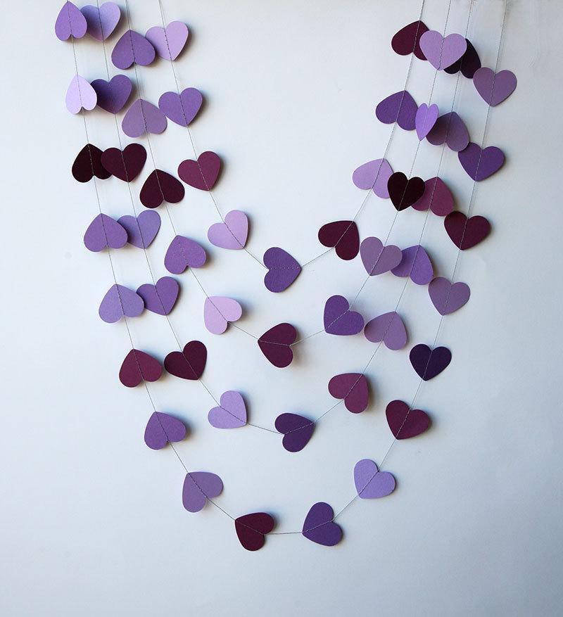 Свадьба - Paper heart garland - Orchid purple violet, Heart garland, Wedding garland, Wedding decoration, Bridal shower decor, Purple wedding,KCO-0032