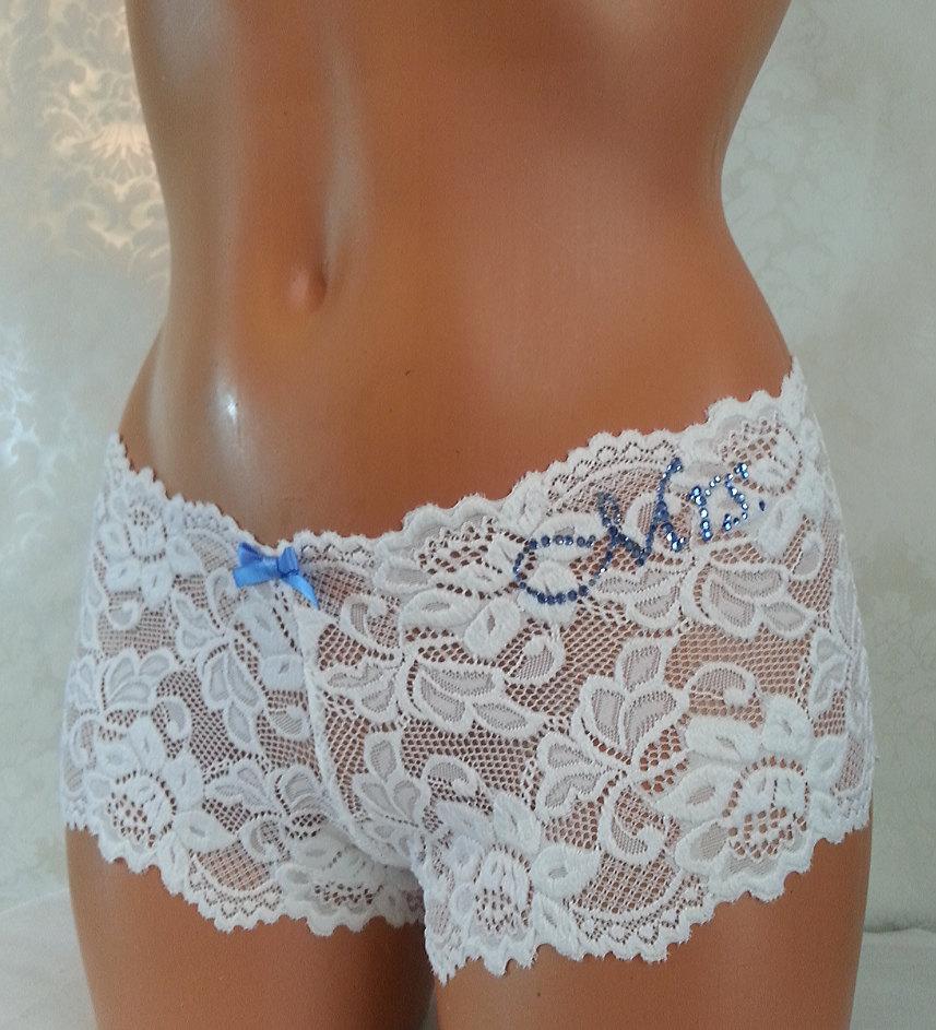 Hochzeit - Bridal Panties: White Lace Cheeky w/ Something Blue - Personalized Bridal Panties - Size XS-XL