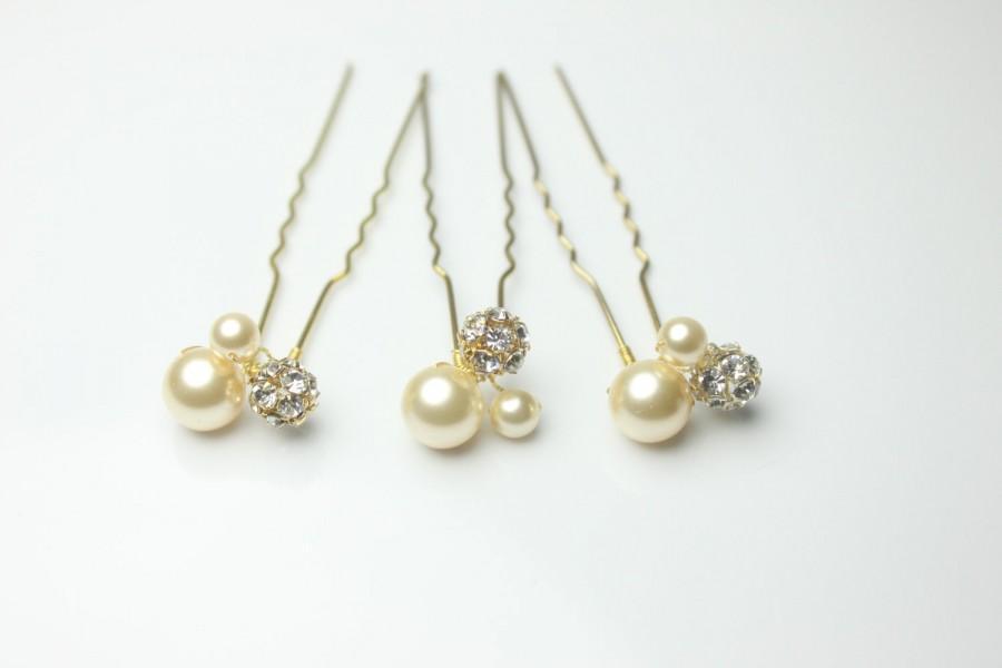 Hochzeit - Gold Bridal Hair Pins-Wedding Hair Pins-Swarovski Hair Pins-Rhinestone and Pearl Hairpins-HP104G