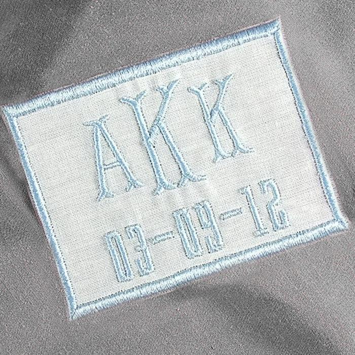 Wedding - For the Bride Something Blue Monogrammed Wedding Dress Label Personalized White Linen
