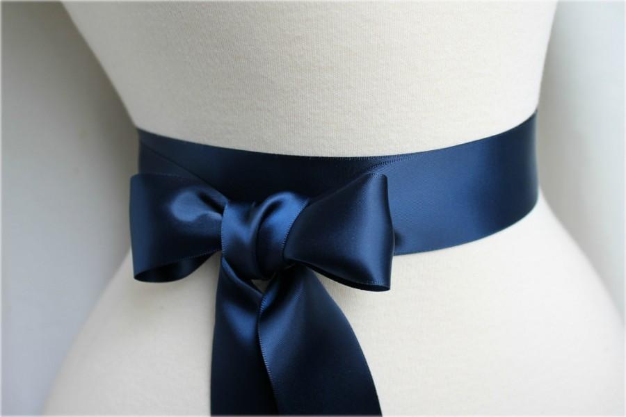 Hochzeit - Navy Satin Sash Belt - Double Faced Satin Ribbon Sash - Beach Summer Nautical Wedding - Bridal Bridesmaids Flower Girl Sash - Many Colors