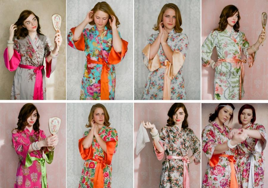 Mariage - 4 custom knee length Angel Sleeve robes or dressing gowns. Bridal party robes, bridesmaids robes, bridal robes.