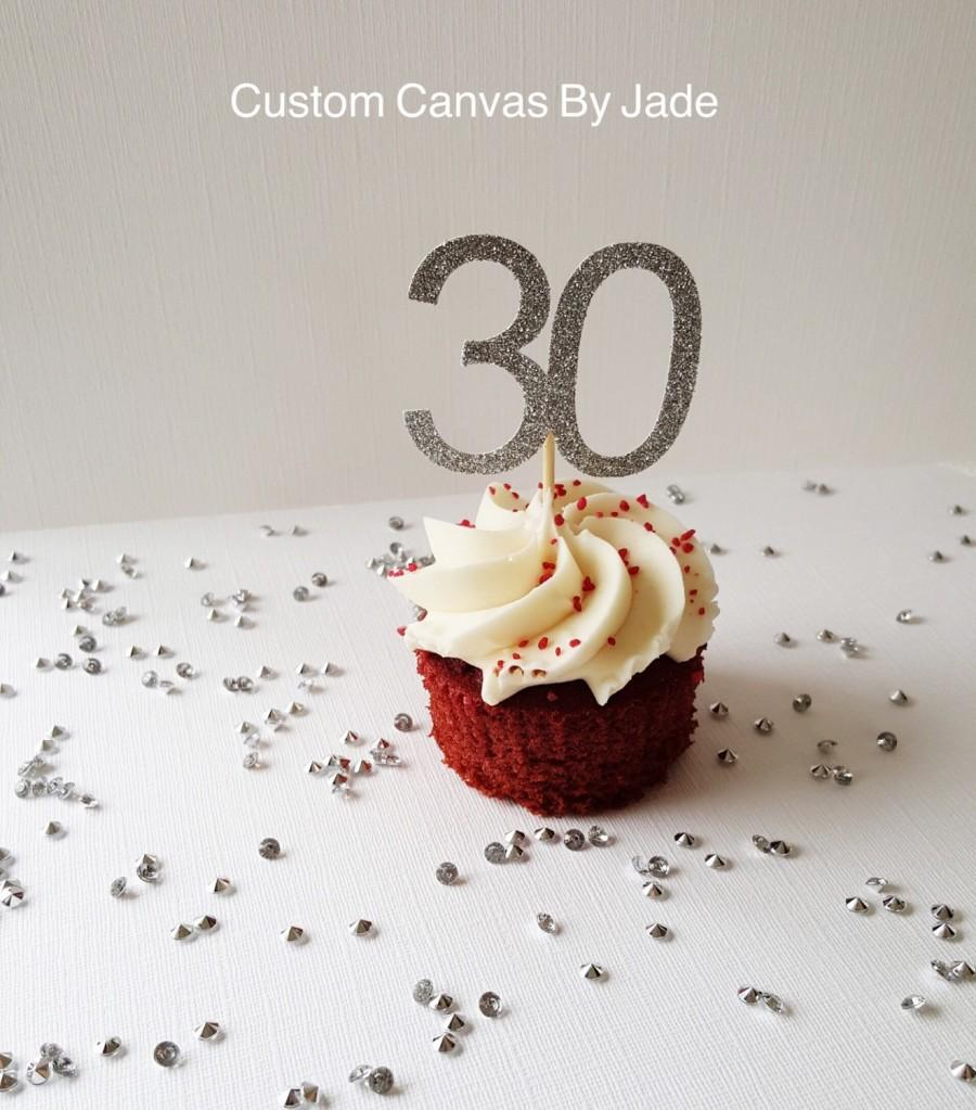 Hochzeit - 30th birthday cup cake toppers, silver glitter party, gold party, custom letter, custom number, 50th birthday party, any number, 16,21,30,50