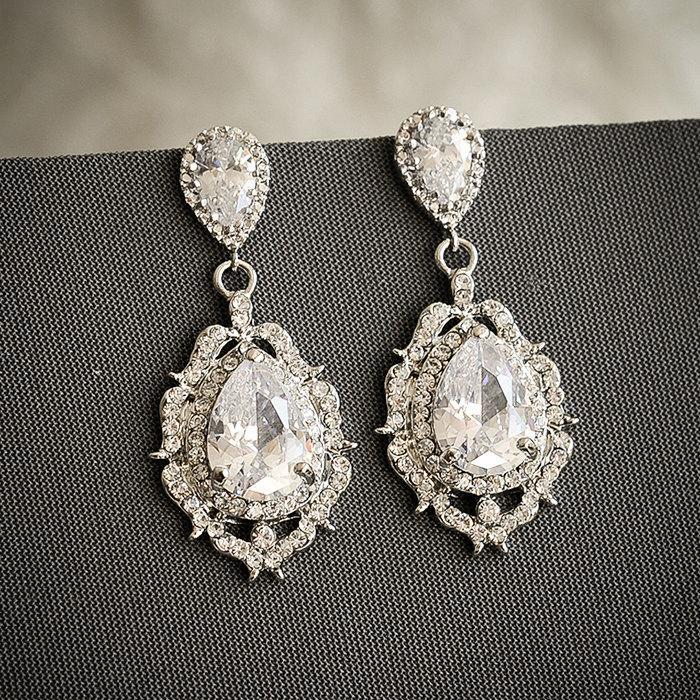 Bridal Wedding Earrings Art Deco Crystal Chandelier Old Hollywood Jewelry Zirconia Teardrop Libby