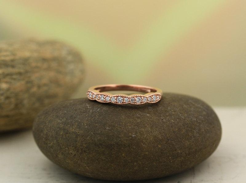 Mariage - Art Deco Antique Style Diamond Milgrain 14K White/Yellow/Rose  Gold half  Eternity Wedding Band Ring Aniversary Ring  Gem1277 on Promotion
