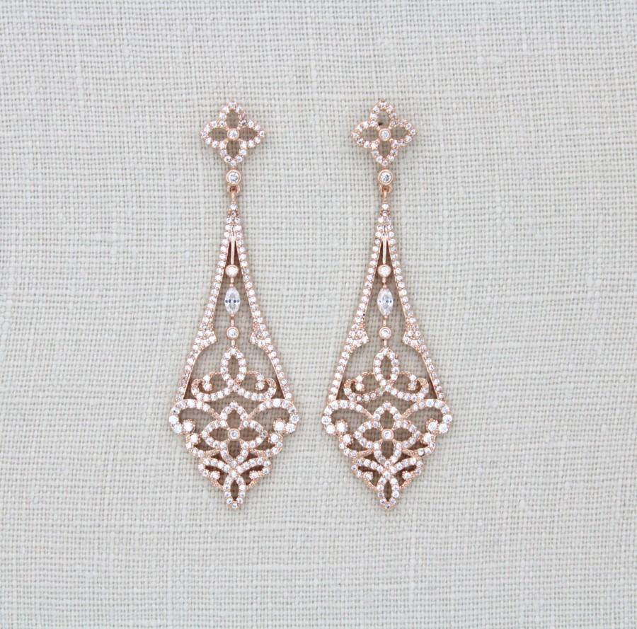 Rose Gold Art Deco Earrings, Rose Gold Chandelier Earrings ...