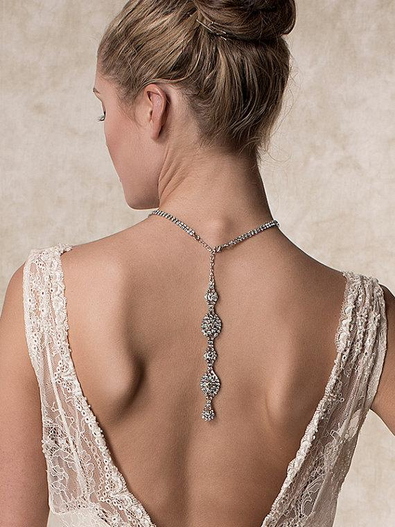 Mariage - Wedding Necklace, Bridal Necklace, Back Drop Necklace, Swarovski Crystal Statement Necklace, Vintage Style Art Deco Jewelry (JACQUELINE)