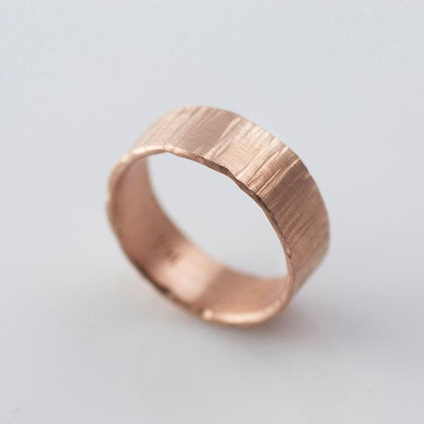 Bark Hammered Rose Gold Wedding Bands Recycled Hand Forged 14k Eco Friendly Metal 2476559