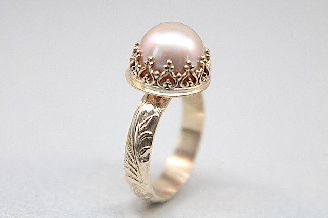 Pearl Wedding 14k Gold Set Recycled Band Engagement Ring Vintage Styling