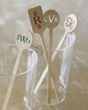 Wedding - 50 Rectangular Stirrers, Red Ink - Print Appeal