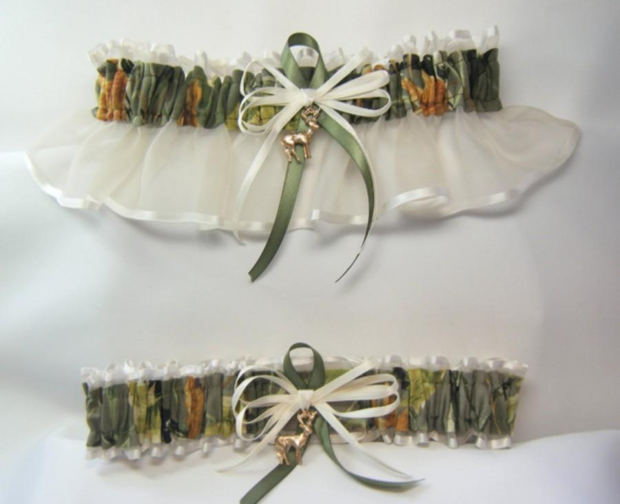 Mariage - SALE - HUNTING AUTUMN Camouflage wedding garters Deer Camo garter