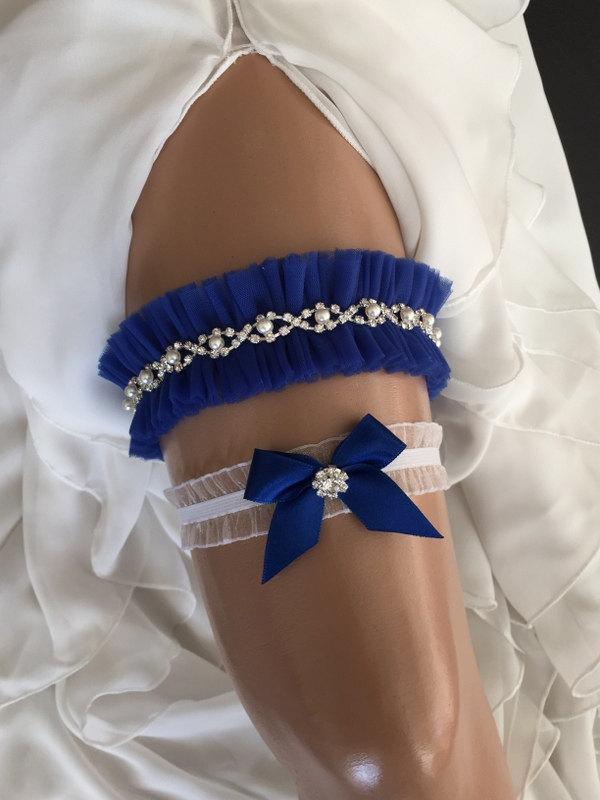 Mariage - wedding garter set, royal blue bridal garter set, royal blue bow, pearl/rhinestone