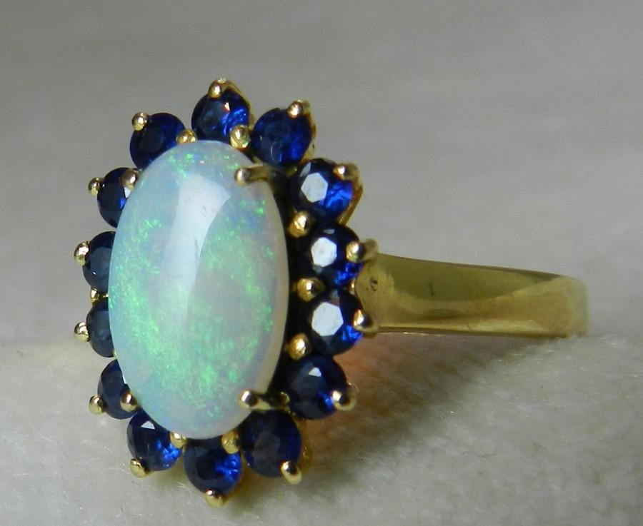 Genuine Opal Enement Rings | Opal Ring Blue Sapphire Halo Opal Engagement Ring 14k Gold Genuine