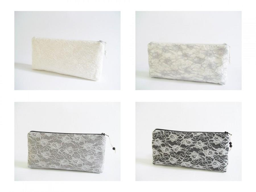 Hochzeit - Gray Lace Clutches, Wedding Clutches Set of 3 or Set of 4, Bride and Bridesmaids Purses