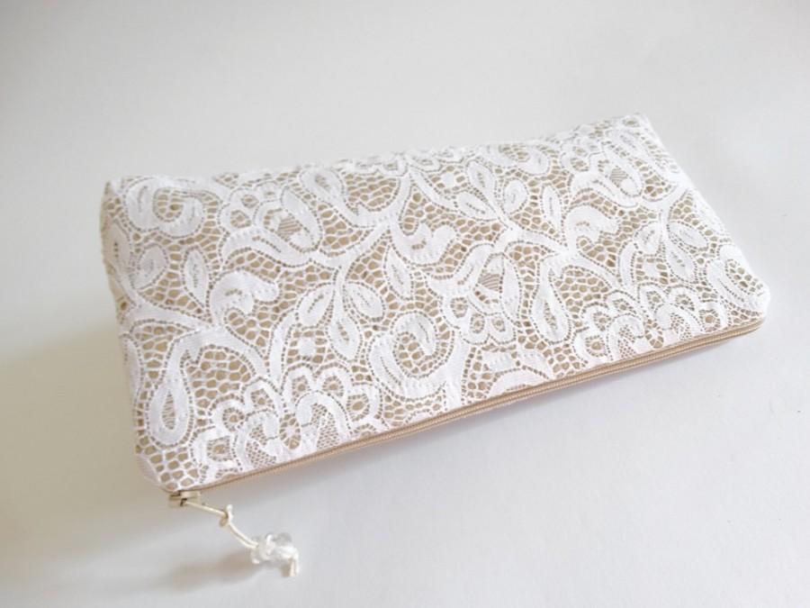 Mariage - White Lace Bridal Clutch, Classic Romantic Wedding Clutch for Bride, Elegant Cosmetic Purse