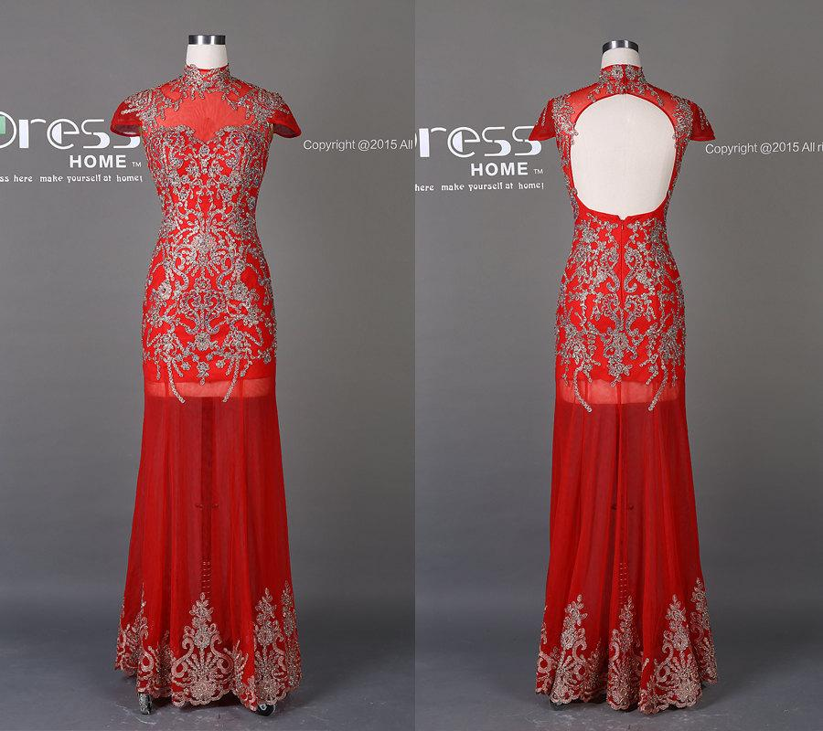 Mariage - Gorgeous High Neck Silver Beading Prom Dress/Red Chinese Style Long Prom Dress/Open Back Prom Dress/Party Dress/Wedding Reception DressDH243