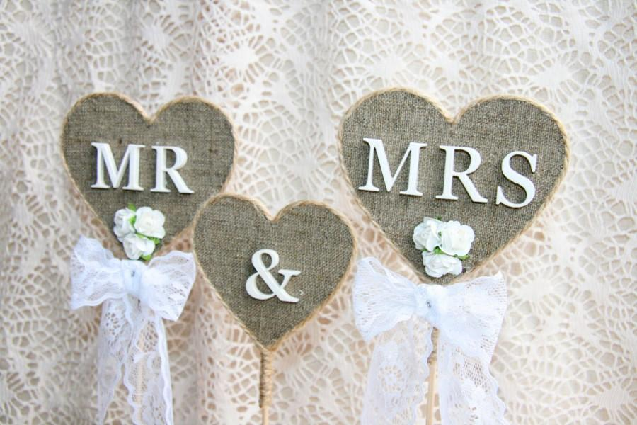 Wedding - Rustic wedding cake topper, Mr & Mrs Cake Topper, wedding cake topper rustic, Burlap Cake Topper, country burlap cake topper, burlap topper