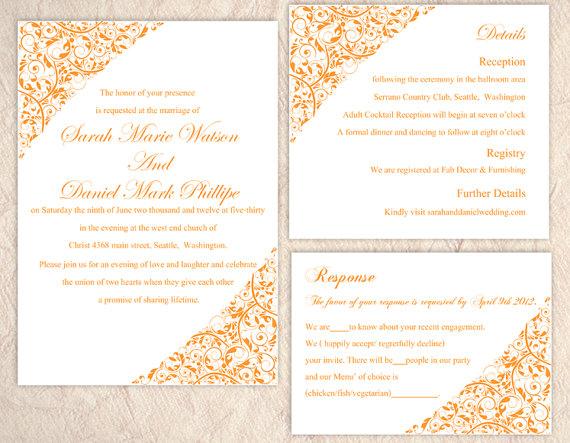Wedding - DIY Wedding Invitation Template Editable Text Word File Instant Download Printable Invitation Orange Wedding Invitation Floral Invitation