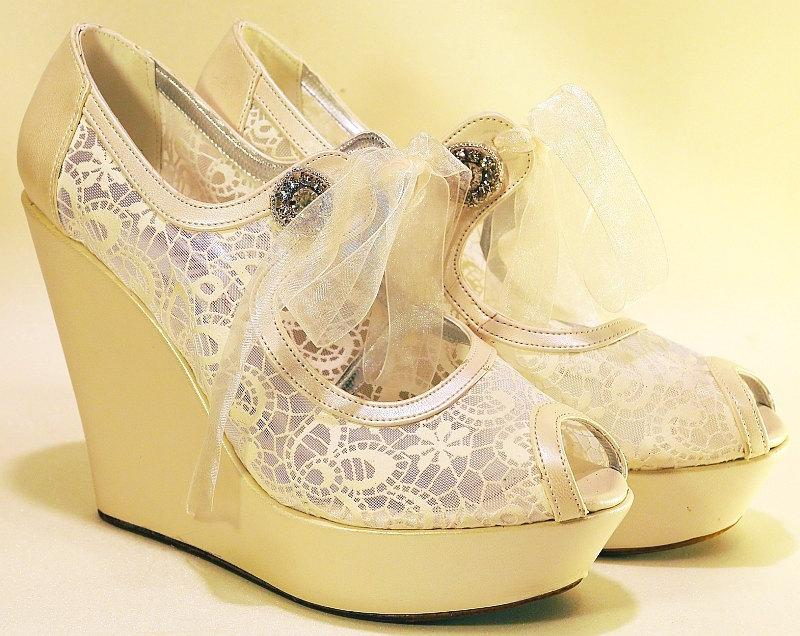 Wedding - LAST SIZE SALE *** % 20 ***  Wedding Shoes, Wedding Wedges, Bridal Shoes, Bridal Wedges,Wedge Shoes, Ivory Bridal Wedges, Ivory Wedges