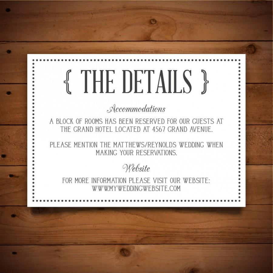 Wedding Information Card Template – Wedding Information Card Template