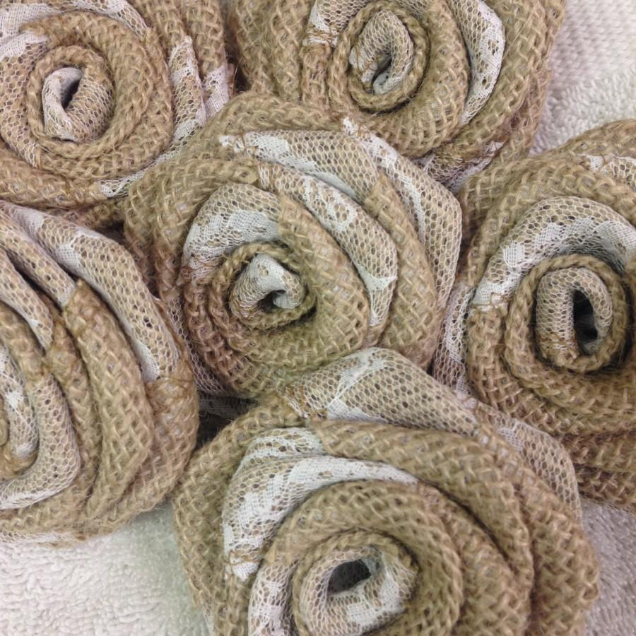 Mariage - White Lace Natural Burlap Rose With Lace-Natural DIY Flowers,Wedding Decor-Rustic Decor,Option: Made on Stems