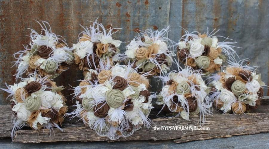 Wedding - Sage Green Burlap and Lace Wedding Bouquets  and Boutonnieres with Feathers for Rustic, Vintage, Farm Wedding