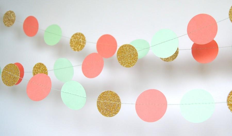 زفاف - Garland, Paper Garland in  Coral, Mint and Gold, Bridal Shower, Baby Shower, Birthday Decor, Mint and Gold Birthday