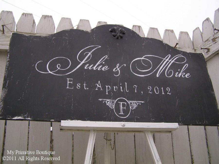 Wedding - Custom NAME SIGN, Distressed Black, Vintage Signs, ESTABLISHED Name Sign, Vintage Modern Decor, Shabby Chic Wedding Sign, 30 x 16