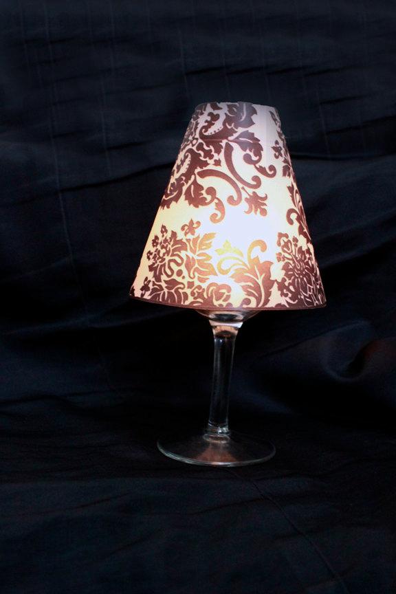 Свадьба - Damask Luminary Wine Glass Cover, Damask Lamp Shade, Damask Wine Luminary, Damask Table Decor, Damask Wedding- set of 10