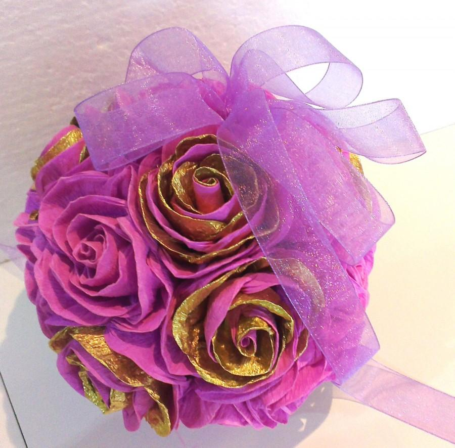 Gold Lavender Lilac Crepe Paper Flowers Ball Wedding Decorations 1