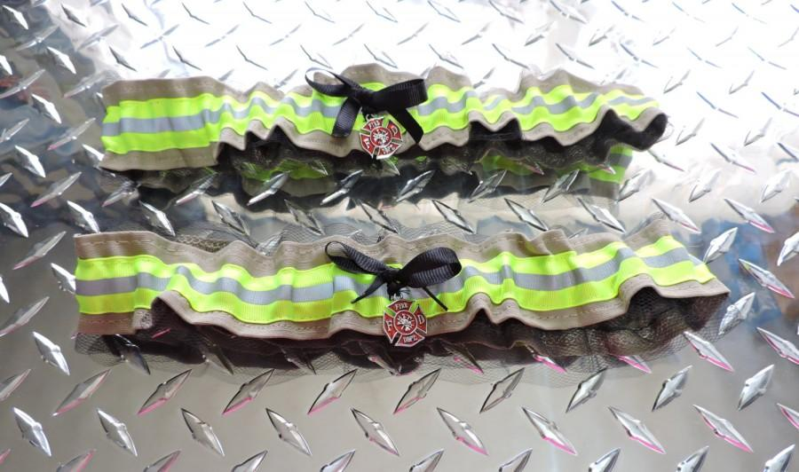 Hochzeit - Firefighter wedding  garter with lace set of two,  optinal name added to one garter,   Tan