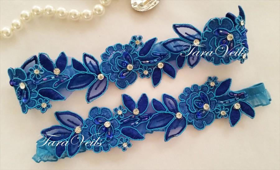 Mariage - Wedding garter set, Royal Blue Garter, Rhinestone Royal Blue Garter, Bridal garters royal blue,bridal garter,Floral lace garter,Garter Set