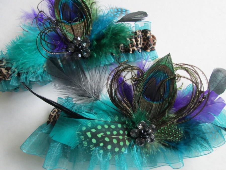 Mariage - PEACOCK Wedding Garter Set, Teal / Jade Green Garters, Leopard Garter, Millinery Feather Garter, Steampunk Wedding