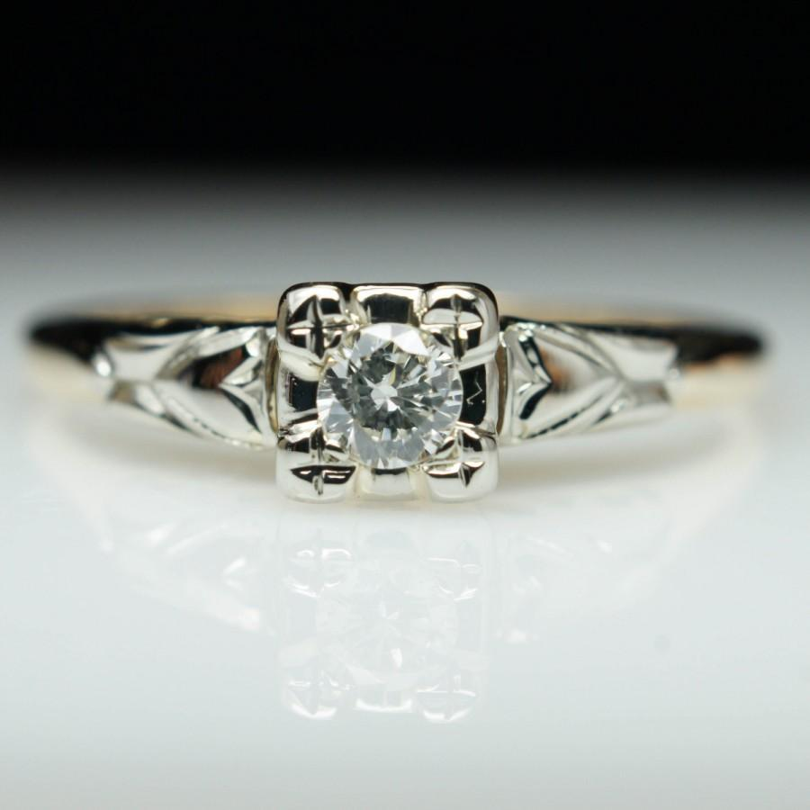 زفاف - Vintage Illusion Set Diamond Engagement Ring 14k Yellow Gold
