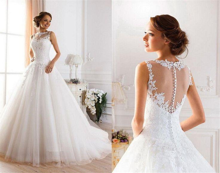 Hochzeit - Beautiful Sleeveless Sheer Back Lace A-Line Wedding Gown