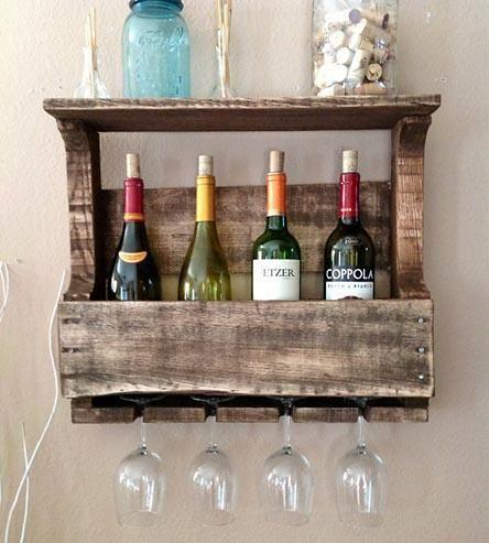 Hochzeit - Small Reclaimed Wood Wine Rack With Shelf