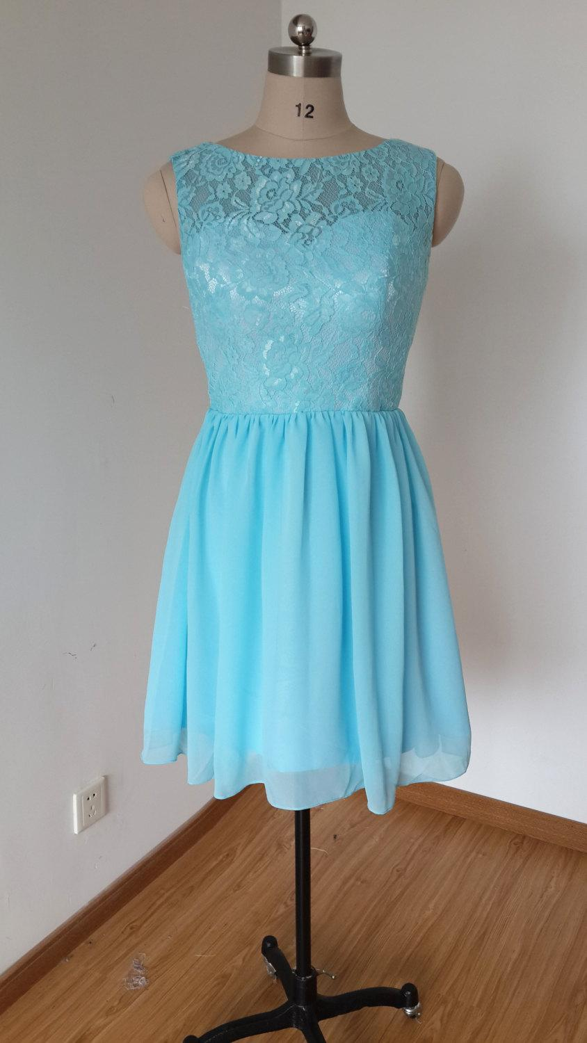 Nozze - 2015 Scoop Blue Lace Chiffon Short Bridesmaid Dress with Back Buttons