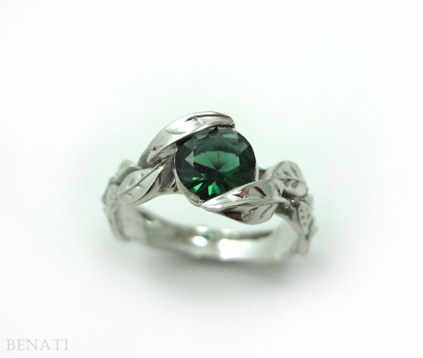زفاف - Engagement Leaf Ring, Leaf Engagement Ring, White Gold Leaf Ring, Gold Leaf Ring, Leaves Ring, Natural Floral Forest Green Gemstone Ring