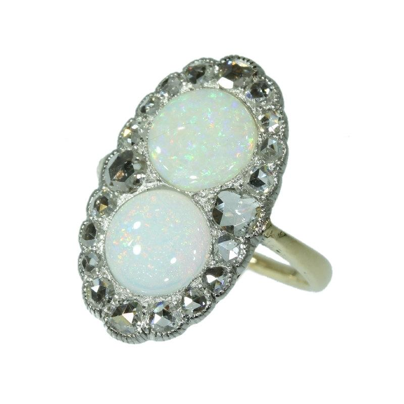 Mariage - Victorian opal ring two stone diamond engagment ring antique diamond c.1890