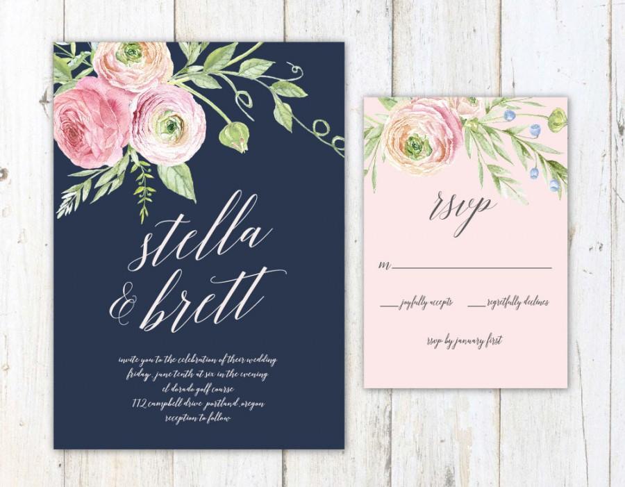 Hochzeit - Navy Blush and Cream Wedding Invitation, Floral Wedding Invitation, Navy and Blush Invitation