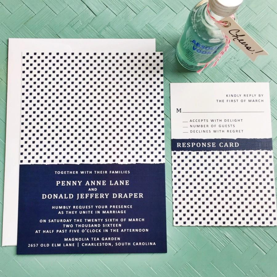 Mariage - Penny Lane Wedding Invitation Suite. Navy, White Wedding Invitation. Modern Chic Wedding Suite. Printable Preppy Wedding Invites.