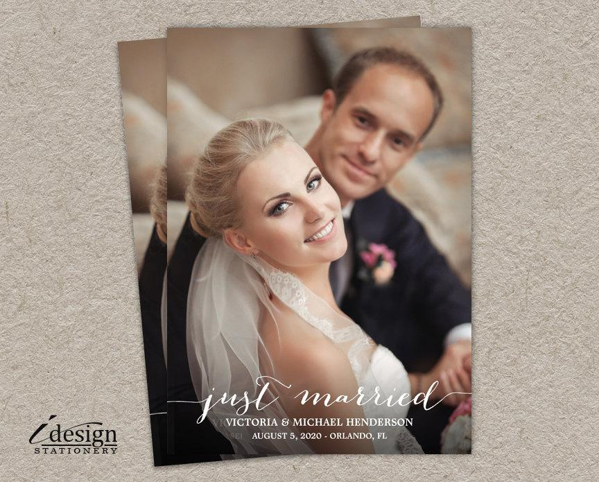 Just Married Wedding Announcements Photo Cards DIY Printable Marriage Announcement Postcards