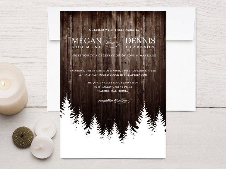 Mariage - Winter Wedding Invitations, Rustic Wood
