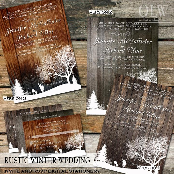 Rustic Winter Wedding Invite And RSVP Country Snow Landscape With Deer Trees Wood Background