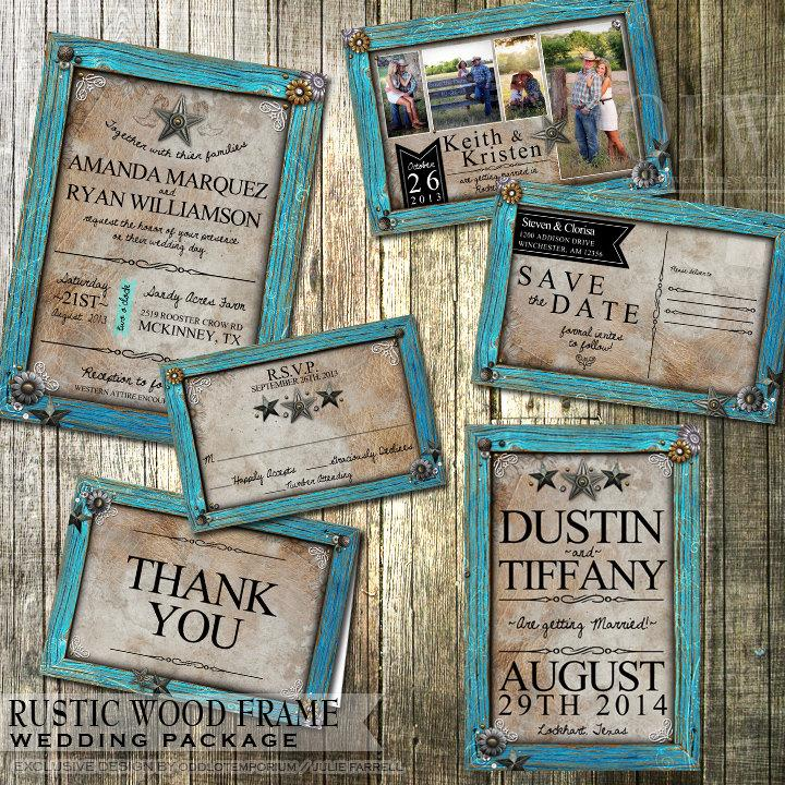 Boda - Rustic Wedding Invitation and stationery Set  Rustic Turquoise Frame on tan leather Country wedding invitation printable DIY Invitation