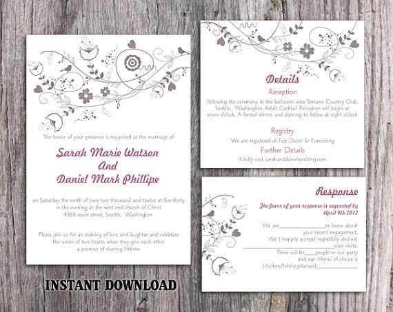 Mariage - DIY Wedding Invitation Template Set Editable Word File Instant Download Printable Invitation Floral Wedding Invitation Bird Invitation